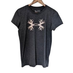 Under Armour Charged Cotton Antler Logo Tee Shirt Grey Size S